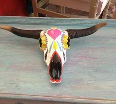 Sugar Skull Hand Painted Decorative Cow Skull on Etsy, $65.00