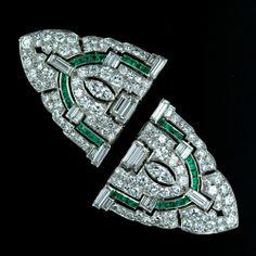 Art Deco Diamond Double Clip  Brooch with Calibre Emeralds