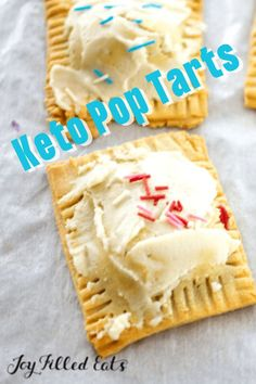 Homemade Keto Pop Tarts have a flaky dough filled with three different fillings. They are going to cure your morning sweet tooth and will impress all the food critics in your life! They are gluten-free, grain-free, low-carb, and keto-friendly. Sugar Free Desserts, Gluten Free Desserts, Fun Desserts, Dessert Recipes, Joy Filled Eats, Keto Dessert Easy, Pop Tarts, Grain Free, Low Carb Recipes