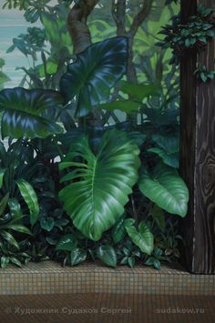 Community wall photos 343 photos VK is part of Mural wallpaper - Mural Wall Art, Tree Wall Art, Big Leaf Plants, Garden Mural, Gothic Wallpaper, Jungle Art, Tropical Art, Mural Painting, Paintings