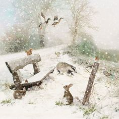 Winter Bench Christmas card design~~Designed by Jane Crowther