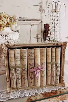 French books displayed in a decorative box - such a great way to display books or small collections on a table, shelf or ledge... recreate this using a plain box & an empty frame.