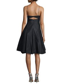 Halston Heritage Sleeveless Fit & Flare Cocktail Dress Halston Heritage cocktail dress in taffeta. Sweetheart neckline. Adjustable spaghetti straps. Hook-and-eye back with cutout. Full, pleated skirt.