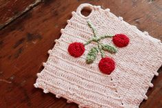 Vintage Hand Crocheted Potholder  Red & White by warehouse31