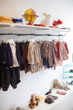 Brompton Road children's shop display. Kids clothes. Rabbit lamp.