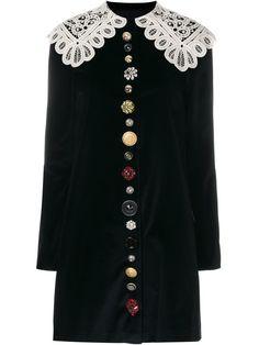 Dolce & Gabbana бархатное платье с кружевным воротником