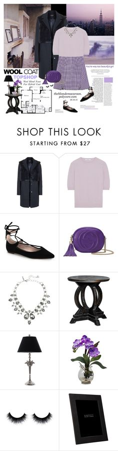 """Cold Weather Essentials: Wool Coat"" by theblondemacaroon ❤ liked on Polyvore featuring Topshop, Prada, Carven, Gucci, Oscar de la Renta, Universal Lighting and Decor, Nearly Natural, Anja, Smythson and Lenox"