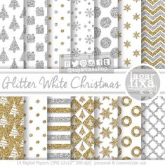 Gold & Silver Glitter White Christmas Digital paper Patterns, tree snow flurry white gold silver bakgrounds for blog scrapbooking cards