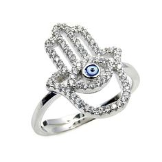 Sterling Silver CZ Hamsa Hand of God Fatima, Evil Eye Ring, Size 9 Adjustable * You can find out more details at the link of the image. (This is an affiliate link and I receive a commission for the sales)