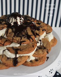 Chocolate Chip Cookie Icebox Cake-so simple to make, just cookies, whipped cream and some chocolate sauce!