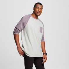 Men's Big & Tall 3/4 Sleeve Baseball Tee Purple 4XB - Mossimo Supply Co.