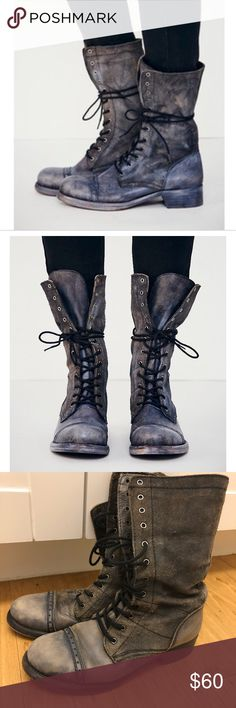 Free People Real Leather Grey Blue Lace Up Boots These are some seriously cute boots with lots of life still in them. Only selling them because they don't match my hair anymore. lol. Good condition, soft leather, black laces, fold over for a short boot look if you'd like. Size 36 or 6 US. Free People Shoes Combat & Moto Boots