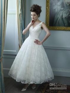 Wholesale 2014 Wedding Dress - Buy Tea Length 2014 V Neck Ruffles Lace A-Line Short Wedding Bridal Dress Dresses Gowns 2014 Custom Made Sexy...