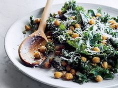 Kale Caesar with Fried Chickpeas | This supereasy Caesar salad gets crunch from crispy chickpeas. Get the recipe at Food & Wine.