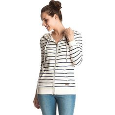 Roxy Women's Signature Stripe Zip Up Hoodie (2.280 RUB) ❤ liked on Polyvore featuring tops, hoodies, marshmellow signature, white zip hoodie, zip hoodies, white zip up hoodie, sweatshirt hoodies and hooded zipper sweatshirts