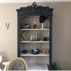 Just beautiful, this library revamped by @ with black satinelle and satinelle gray suede for the interior. Furniture Fix, Refurbished Furniture, Living Room Furniture, Black Painted Furniture, Unwanted Furniture, Black And White Living Room, Furniture Restoration, Furniture Inspiration, Home Decor