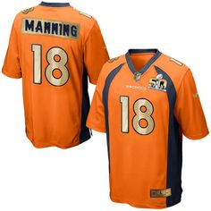 cf098c29dd0 Men\'s Nike Denver Broncos #18 Peyton Manning Game Orange Super Bowl 50