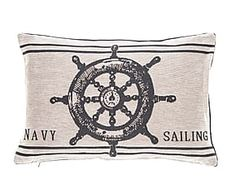 Cuscino in cotone misto Nautical Roer bianco/nero - 45x33 cm