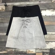 It doesn't get much better than this unique, buttery soft mini skirt. Features include 100% Premium Vegan leather suede, a lace up front closure and a sexy yet flirty short hemline. Gender: WomenWaistline: EmpireDecoration: NonePattern Type: SolidMaterial: 100% Premium Vegan SuedeDresses Length: Above Knee, MiniSilhouette: A-Line