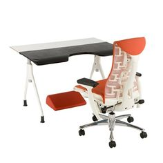 herman miller envelop desk with embody chair and foot rest for jason