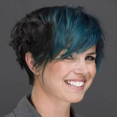 long brunette pixie with angled layers @batman10783