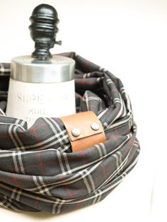 Charcoal  red and cream  plaid circular infinity scarf by System63, $40.00