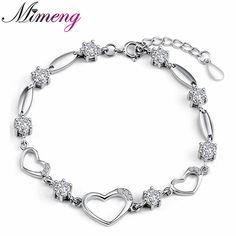 AAA 100% Sterling Silver 925 Jewelry Heart-shaped Bracelet Female Bracelet Genuine Top Quality!! Free Shipping www.bernysjewels.com #bernysjewels #jewels #jewelry #nice #bags