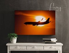 Sunset Airline Canvas. Professionally shot limited edition canvas. Aviation, Sunset  Aircraft, Airliner, Canvas Print, Aviation Photography