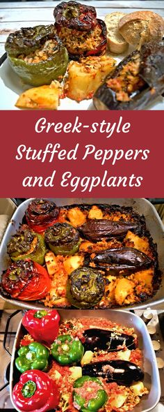 Greek-style Stuffed Peppers and Eggplants=