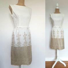 """Vintage 1950""""s wiggle dress, embroidered linen dress Day Dresses, Formal Dresses, 1950s Outfits, Wiggle Dress, Bateau Neckline, White Dress, Elegant, Skirts, Clothing"""