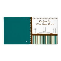 Kitchen Stripes Aqua Recipe Binder