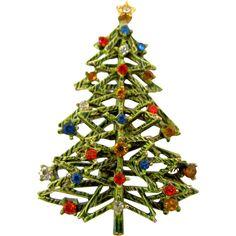 Signed ART Modernist Enamel Christmas Tree Pin - Book Piece