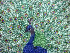 """Pointillism Peacock"" marker on paper"