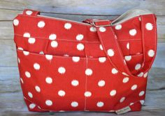 Camera Bag, upholstery weight designer fabric in Red polka dot,  zipper top Tote,  slouch purse, messenger strap by Darby Mack