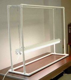 grow-light stand made out of PVC