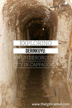 Exploring one of many ancient underground cities in Cappadocia, Turkey