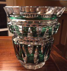 Val Saint Lambert crystal vase. Emerald green. Model Boléro taille fantaisie. 1950 era.