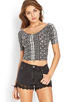 Ruched Traveler Crop Top | FOREVER21 | $7.80 | get this and use that transfer paper to outline hot pink letters on it!!! need to do this summer.