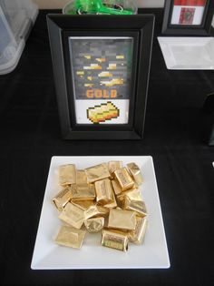 Gold at a Minecraft birthday party! See more party ideas at CatchMyParty.com!