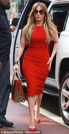 Jennifer Lopez parades her toned curves in a tight red pencil dress - Pretty as a picture: Jennifer wore her light brunette locks loose, and accessorized with oversized - J Lo Fashion, Work Fashion, Fashion Outfits, Red Pencil, Pencil Dress, Classy Outfits, Casual Outfits, Cute Outfits, Light Brunette
