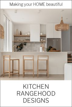There are now a range of designs to select from to hide your kitchen extractor fan. I have some ideas to show you in this post. Kitchen Fan, Hidden Kitchen, Boho Kitchen, Kitchen Styling, Kitchen Benches, Kitchen Stools, Kitchen Cupboards, Kitchen Extractor, Bar Stools
