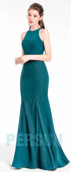 ac76f8c0b13 Robe de soirée fourreau sirène verte longue en mousseline élégante pour  femme. Robes pour mariage