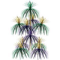 Firework Chandelier gold, green, purple (12ct)
