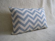 "Sky Blue Chevron Print Designer Pillow 12"" x 18"" $28"