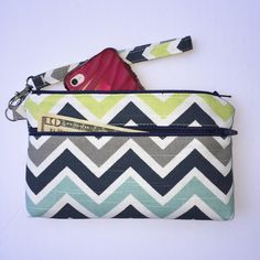 Wristlet; Chevron Wristlet Wallet; Zipper Pouch; iPhone 7 or 7 Plus/Samsung Galaxy Cell Phone Wristlet; Cell Phone Purse; Clutch by ChristyRaynDesigns on Etsy