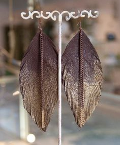 Leather Feather Earrings. Chocolate Brown with Painted by TZain