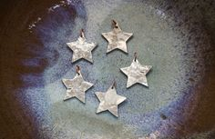 Mini Star Ornaments set of five fine silver by EarthlyCreature