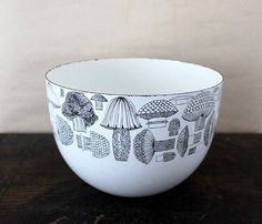 Super Cute Enamel Bowl that Features Mushrooms: white with black details