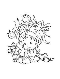 Colorful Drawings, Colorful Pictures, Cute Drawings, Baby Coloring Pages, Coloring Books, Girl Drawing Sketches, Whimsy Stamps, Cartoon Design, Hand Embroidery Patterns