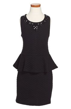 Nicole Miller Diamond Quilted Peplum Dress (Big Girls) available at #Nordstrom